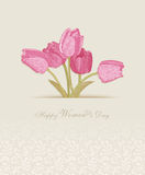 Happy Women's Day background with spring flowers. 8 March. Royalty Free Stock Photo