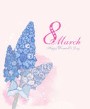 Happy Women's Day background with spring flowers. 8 March. Stock Images
