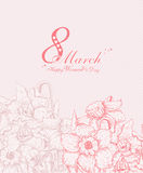 Happy Women's Day background with spring flowers. 8 March. Stock Photography