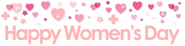 Happy Women`s Day banner baby pink with Hearts and Flowers on a white background. Happy Women`s Day banner baby pink with Hearts and Flowers on a white vector illustration