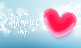 Happy women`s day banner with ballon heart on romantic blue light bokeh background. Vector 8 March greetings text poster. For mother`s day. International women` Stock Image