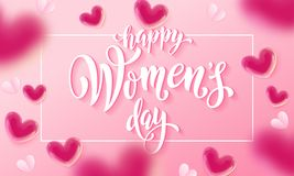 Happy women`s day banner with ballon heart on romantic pink background. Vector 8 March greetings text poster. For mother`s day. International women`s day flyer stock illustration