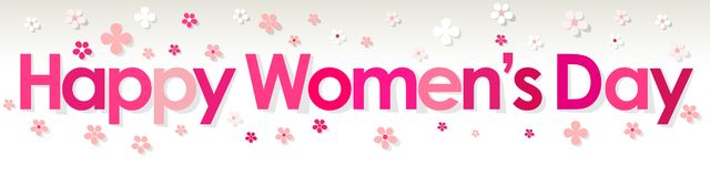 Happy Women`s Day banner pink with Flowers on a white grey background. Happy Women`s Day banner pink with Flowers on a white grey background Vector Illustration