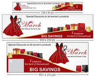 Happy Women's Day banner set. March 8th Happy Women's Day banner set for shops, stores, gift boutiques . Big Sales / Special Offers. Sizes: leader board Stock Illustration