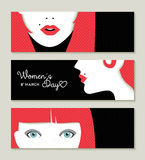 Happy Women's Day banner set with retro girl face. Banner set in celebration of International Woman Day with vintage style girl face illustrations. EPS10 vector Royalty Free Illustration
