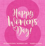 Happy Women`s Day calligraphy with hearts. Stock Photography