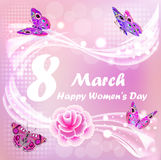 Happy Women`s Day card with butterflies and flower Stock Photo