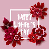 Happy Women`s Day card with flowers and frame. Vector greeting card template. Stock Image