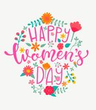 Happy Women`s Day Card, Handdrawn Lettering. Royalty Free Stock Images