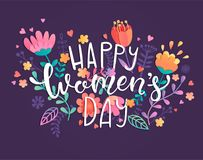 Happy women`s day card. Happy women`s day card with handdrawn lettering on violet background with beautiful flowers and leaves. Vector illustration template Vector Illustration