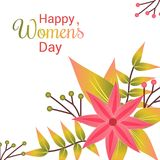 Happy Women\'s day card with light background and flowers vector. For web design and application interface, also useful for infographics. Vector illustration Royalty Free Stock Images