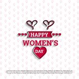 Happy Women\'s day card with white pattern background. For web design and application interface, also useful for infographics. Vector illustration Stock Images