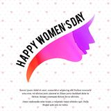 Happy women\'s day card with white pattern background. For web design and application interface, also useful for infographics. Vector illustration Stock Photography
