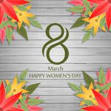 Happy Women\'s day card on wooden background vector. For web design and application interface, also useful for infographics. Vector illustration Stock Images