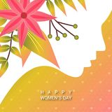Happy Women\'s day card with yellow pattern  background. For web design and application interface, also useful for infographics. Vector illustration Royalty Free Stock Photography