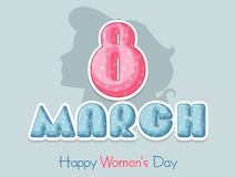Happy Womens Day celebration with glossy text. Poster, banner or flyer with glossy text 8 March and silhouette of woman face for Happy Womens Day celebration Royalty Free Stock Photos