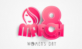 Happy Womens Day celebration with pink paper text. Royalty Free Stock Image