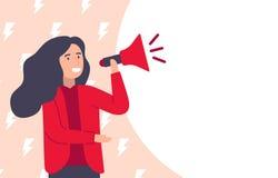 Woman speaking on megaphone for feminist support vector. vector illustration