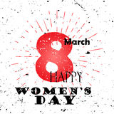 Happy Women`s Day concept with text 8th of March Lettering Typography with burst on a Old Textured Background. Vector illustration for cards, banners, print stock illustration