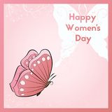 Happy Women`s Day. The design of the invitation to the event. Floral ornaments illustration. Decoration flying butterfly. Happy Women`s Day. The design of the Stock Image