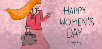 Happy women& x27;s day everyday business woman design. Happy international women& x27;s day everyday concept background. Independent business modern woman in Royalty Free Stock Images