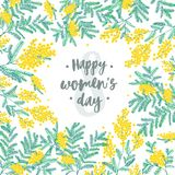 Happy Women s Day festive wish against figure eight on background surrounded by beautiful blooming yellow mimosa flowers. And green leaves. Elegant vector Royalty Free Stock Photo