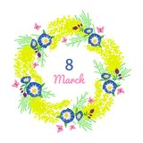 Happy Women`s Day festive wish against figure eight on background surrounded by beautiful blooming yellow mimosa flowers and green stock illustration