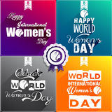 Happy Women's Day Flat Design greeting card. Illustration of Happy Women's Day Flat Design greeting card, gift card wallpaper on red background, green background vector illustration