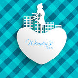 Happy Women's Day greeting card. Or background with white silhouette of a happy girl on heart and urban city on abstrct blue background royalty free illustration