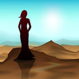 Happy Women's Day greeting card. Or background with a silhouette of a women in evening vector illustration