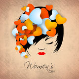 Happy Women's Day greeting card or background with a portrait of Royalty Free Stock Photo