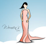Happy Women's Day greeting card or background with a sketch of a Royalty Free Stock Image