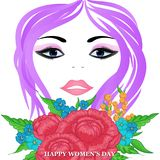 Happy Women`s Day greeting card. With beautiful floral designing elements. eps10 graphicnillustration of face of lady flower concept royalty free illustration
