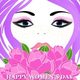 Happy Women`s Day greeting card. With beautiful floral designing elements. eps10 graphicnillustration of face of lady flower concept Stock Image