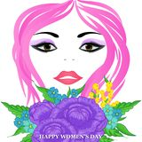 Happy Women`s Day greeting card. With beautiful floral designing elements. eps10 graphicnillustration of face of lady flower concept Stock Photography