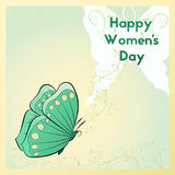 Happy Women`s Day. Greeting card with butterfly. Template postcards green colors. Happy Women`s Day. Greeting card with flowers and butterfly. Template Vector Illustration