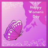 Happy Women`s Day. Greeting card with butterfly. Template postcards. Happy Women`s Day. Greeting card with swirls of plants and butterfly. Template postcards Vector Illustration