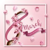 Happy women`s day greeting card. With cherry  flowers on branch and floating petals. Vector illustration for international women`s day march 8th Stock Photos