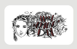 Happy Women`s Day greeting card design. Hand Drawn Sketch Vector illustration Stock Photos
