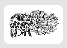Happy Women`s Day greeting card design. Hand Drawn Sketch Vector illustration Stock Images