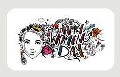 Happy Women`s Day greeting card design. Hand Drawn Sketch Vector illustration Royalty Free Stock Images