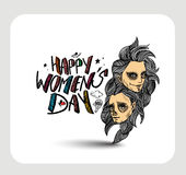 Happy Women`s Day greeting card design. Hand Drawn Sketch Vector illustration Royalty Free Stock Image