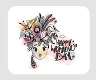 Happy Women`s Day greeting card design. Hand Drawn Sketch Vector illustration Stock Photo