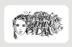 Happy Women`s Day greeting card design. Hand Drawn Sketch Vector illustration Stock Photography