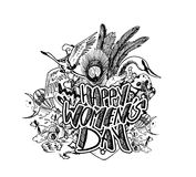 Happy Women`s Day greeting card design. Stock Images