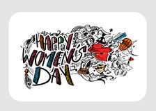 Happy Women`s Day greeting card design. Hand Drawn Sketch Vector illustration Royalty Free Stock Photos