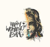 Happy Women`s Day greeting card design. Royalty Free Stock Images