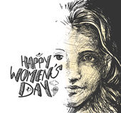 Happy Women`s Day greeting card design. Hand Drawn Sketch Vector illustration Royalty Free Stock Photography