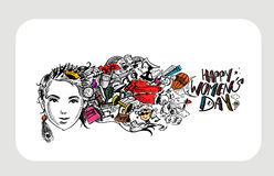 Happy Women`s Day greeting card design. Hand Drawn Sketch Vector illustration Royalty Free Stock Photo