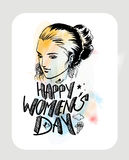 Happy Women`s Day greeting card design. Royalty Free Stock Photo